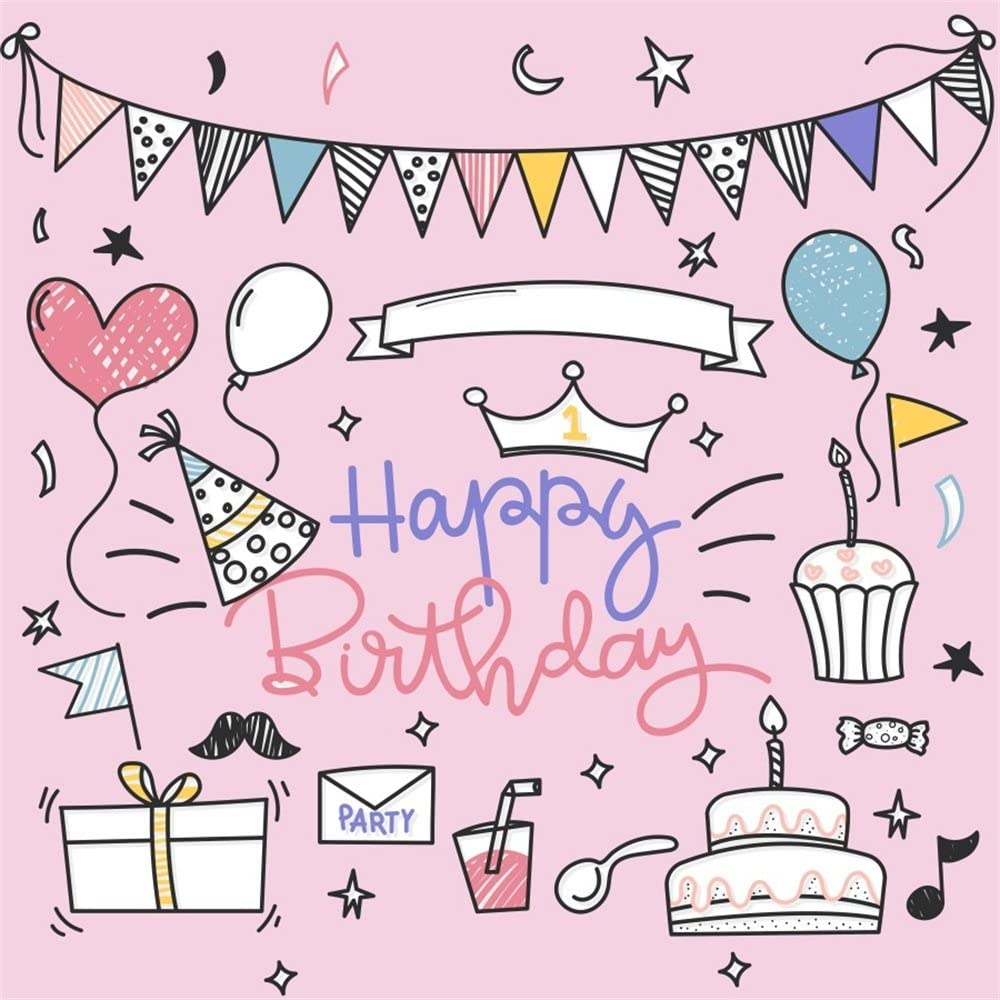 Kids Birthday 10x15 FT Photography Backdrop Cartoon Style Happy Birthday Party Image Cake Candles Hearts Design Print Background for Photography Kids Adult Photo Booth Video Shoot Vinyl Studio Props