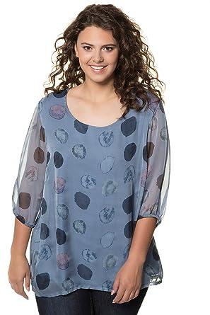 3b35cbcb3f1 Ulla Popken Women s Plus Size Watercolor Circle Layered Blouse 717742 at  Amazon Women s Clothing store