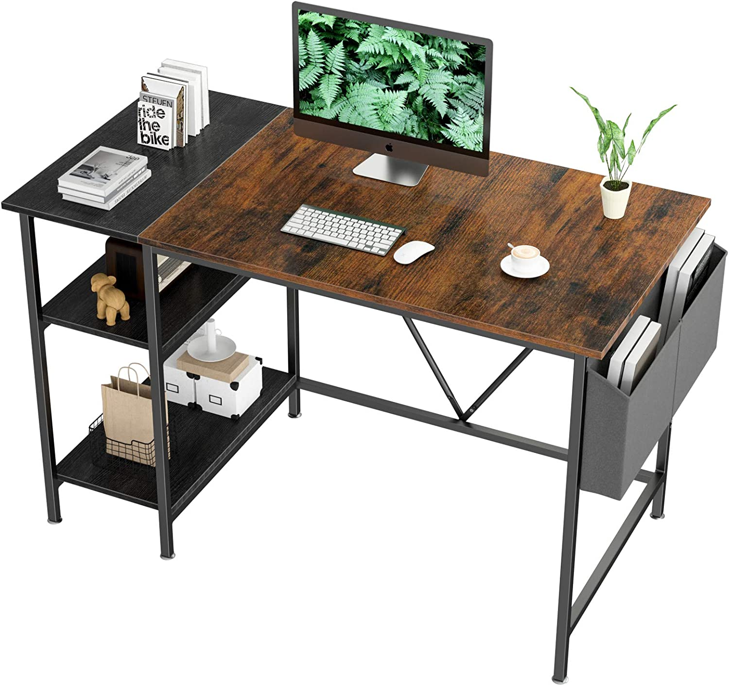 Computer Desk 47 inch Home Office Writing Study Desk, Modern Simple Style Laptop Table with Storage Bag