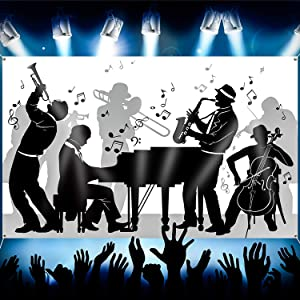 Great 20's Jazz Band Party Backdrop Jazz Silhouettes Music 20's Party Background for 1920s Wall Decoration 20's Party Decor Music Note