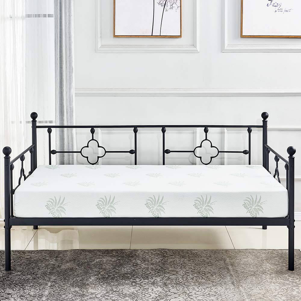 sleepanda Metal Day Bed Frame with Headboard and Steel Slat Support Heavy Duty Easy Assembly Mattress Foundation Box Spring Replacement, Black Day Bed Five Years Warranty