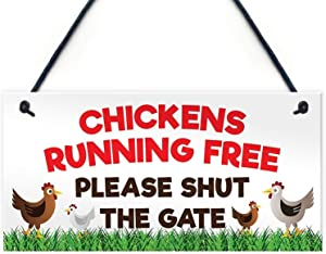 MAIYUAN Chickens Running Free Please Shut The Gate Hanging Wood Plaque Hens Coop Garden Sign 10x5(UG1279)