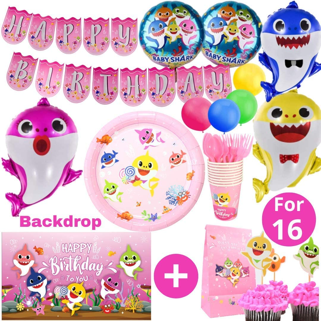 Baby Shark Party Supplies First Birthday Decorations Girls with Pink Balloons, High Chair Banner, 3x5 ft Backdrop, Cake Topper Theme, One Birthday Crown, Months Banner (Tableware Set 16 - Girl)