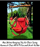 New Deluxe Hanging Sky Air Chair Swing Hammock Chair W/ Pillow and Drink Holder - Red