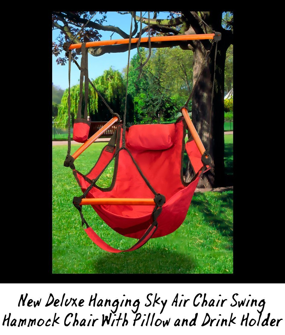 New Deluxe Hanging Sky Air Chair Swing Hammock Chair W Pillow and Drink Holder – Red
