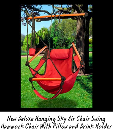 new deluxe hanging sky air chair swing hammock chair w  pillow and drink holder   amazon     new deluxe hanging sky air chair swing hammock chair      rh   amazon