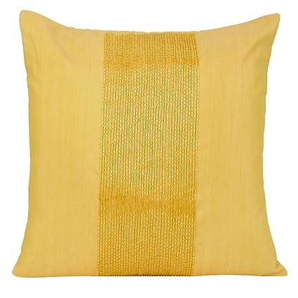 Amazon The White Petals Yellow Decorative Pillow Cover Beaded Custom Yellow Decorative Bed Pillows