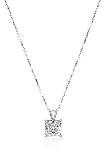 1b8ae960de3 Jewelili 10K White Gold Solitaire Pendant Set with Princess Cut Swarovski  Zirconia (2 cttw)