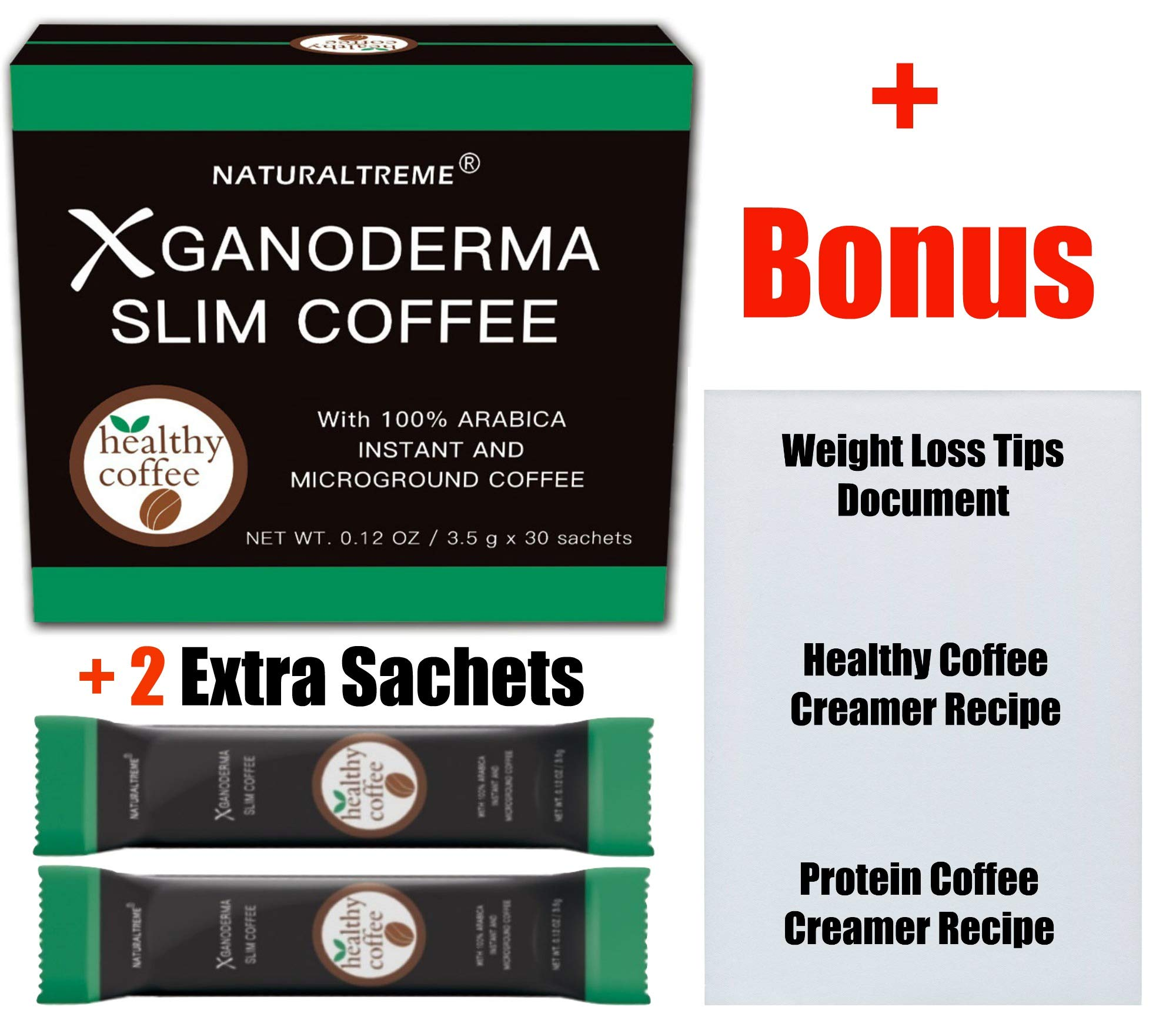 Slimming Instant Coffee Weight Loss & Detox Blend! 100% All Natural Ingredients! Appetite Suppressant! 30 Day Supply by NATURALTREME