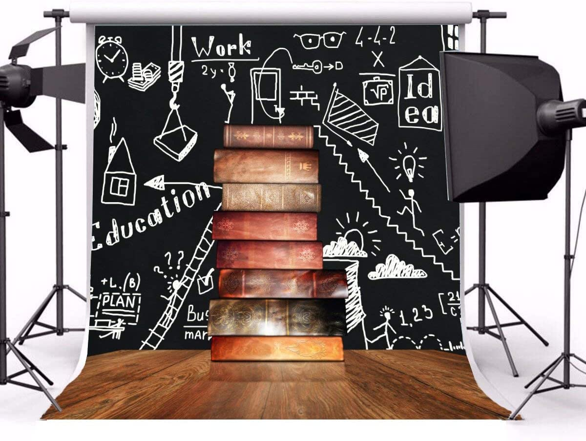 GoEoo 10x10ft Hand Drawing Blackboard Background Kids Child Students Back to School Graduation Photo Booth Backdrop Stack of Books on Teachers Desk Video Drapes Photo Studio Props
