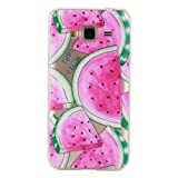 For Samsung Galaxy J3 2015 Case,Samsung Galaxy J3 2016 Case,Samsung Galaxy J310 Case [With Tempered Glass Screen Protector],idatog(TM) Soft Silicone Bumper Ultra Thin Slim Flexible Cover Case ,High Quality TPU with Colorful Cute Printed Pattern Fashion Design Protective Back Rubber Case Cover Shell Perfect Fitted For Samsung Galaxy J3 2015/J3 2016/J310 (Watermelon)