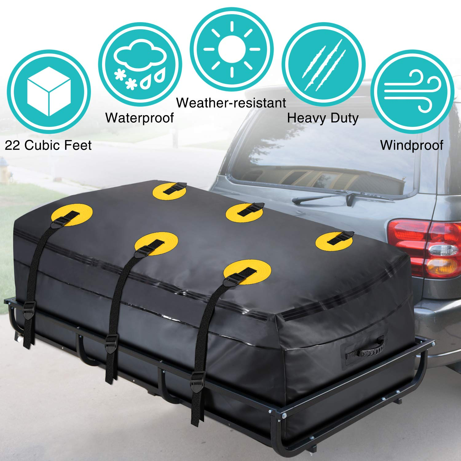 MODOKIT Trailer Hitch Bag-100% Waterproof Hitch Tray Cargo Carrier Bag for Vehicle Car Truck SUV Vans, Heavy Duty Cargo Bags for Hitch Racks-22 Cubic Feet (60''x24''x26'')