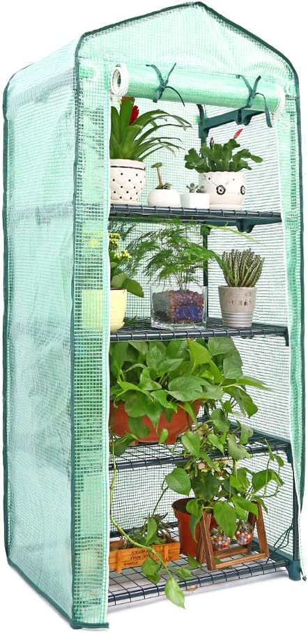 Ohuhu Mini Greenhouse, Small Plant Greenhouses, 4 Tier Rack Stands Portable Garden Green House for Outdoor & Indoor, 1.5 x 2.25 x 5.25 FT