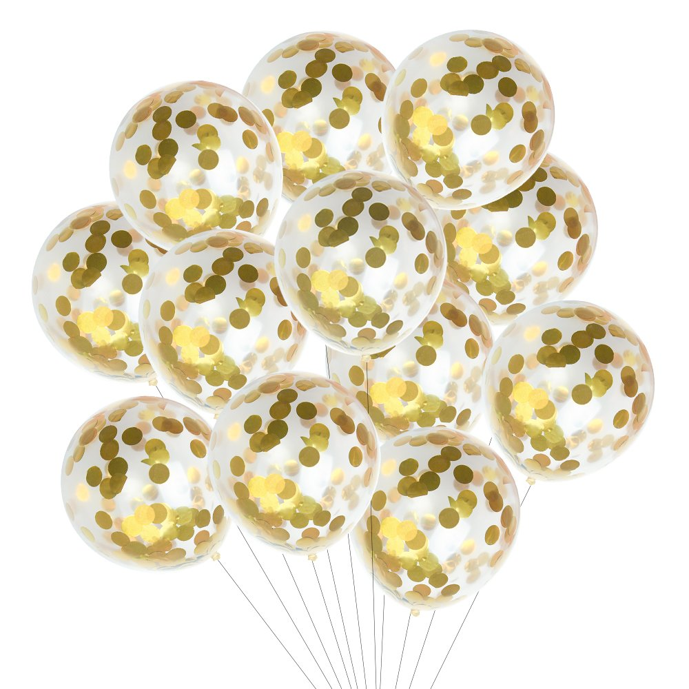 Kuuqa 15 Pieces Gold Confetti Balloons 12 Inches for Wedding Birthday Party Decorations KQ322