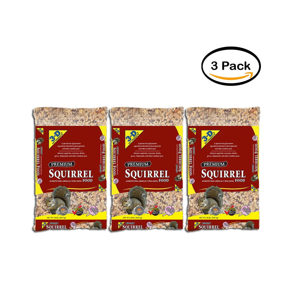PACK OF 3 - 3-D Squirrel Food, 20 lbs