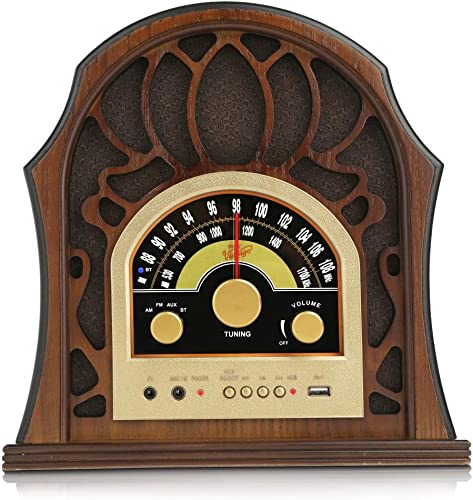 Pyle Retro Speaker Vintage Radio – Classic Style Stereo, Wireless Bluetooth Receiver Speakers, Built-in Full Range Sound System Reproduction, USB, MP3 Player, AM FM Tuner – PUNP37BT Walnut