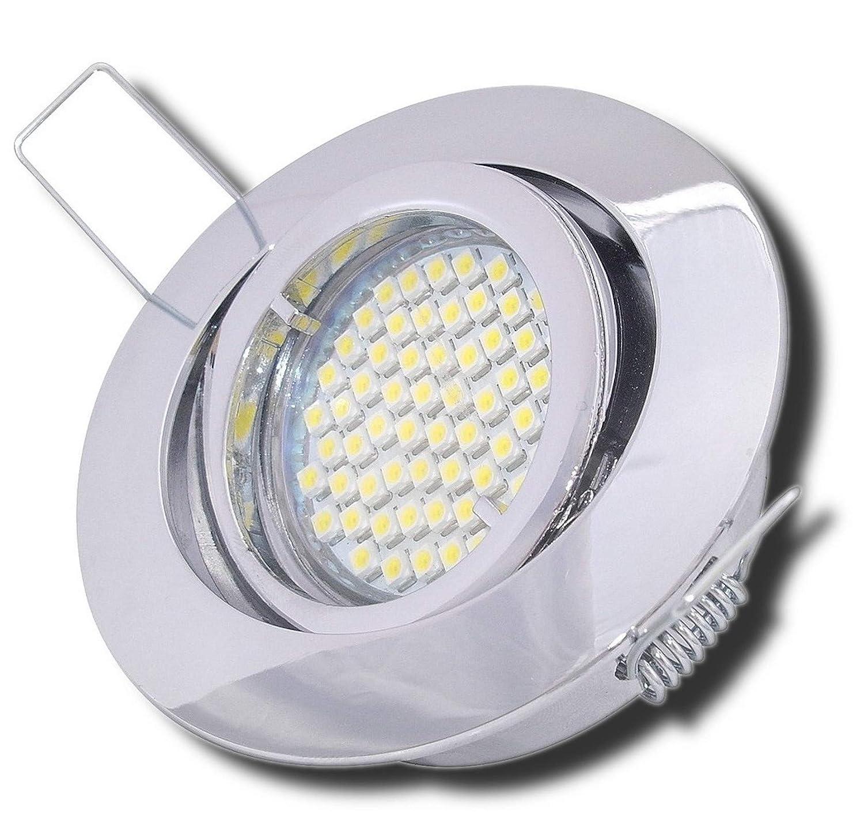 4 Stück SMD LED Einbaustrahler Laura 230 Volt 5 Watt Step Dimmbar Schwenkbar Chrom Neutralweiß