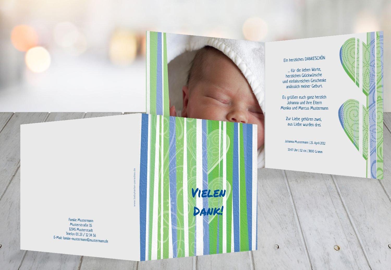 Kartenparadies Danksagung für Geburt Baby Dankeskarte hearts and stripes, hochwertige Danksagungskarte Baby inklusive Umschläge   100 Karten - (Format  145x145 mm) Farbe  Grasgruen B01NAYWUNF | Discount  | Roman  | Passend In Der Farbe