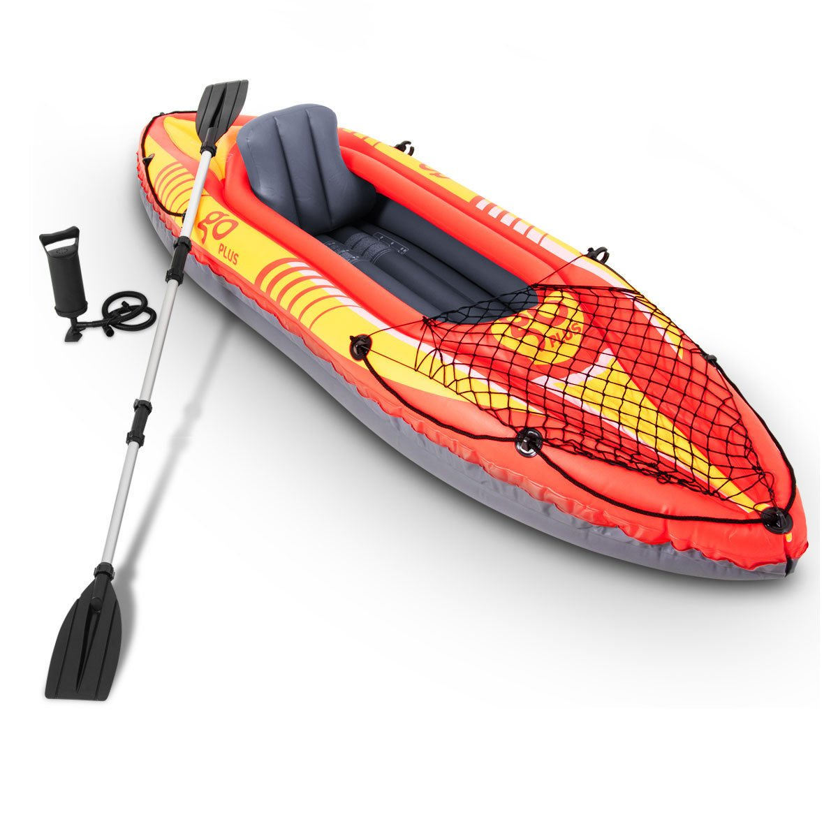 Goplus1-person Inflatable Kayak 3 Seperate Air Chambers with Aluminum Alloy Oar and Hand Pump Inflatable Boat Canoe for Adults