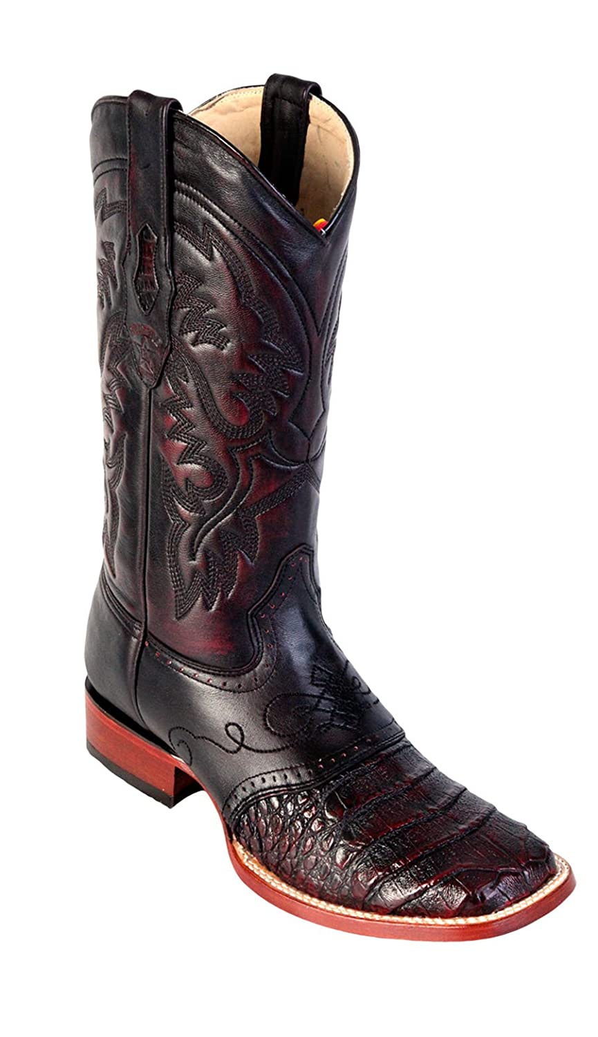 Men's Wide Square Toe Black Genuine Leather Caiman Belly w/ Saddle Skin Western Boots
