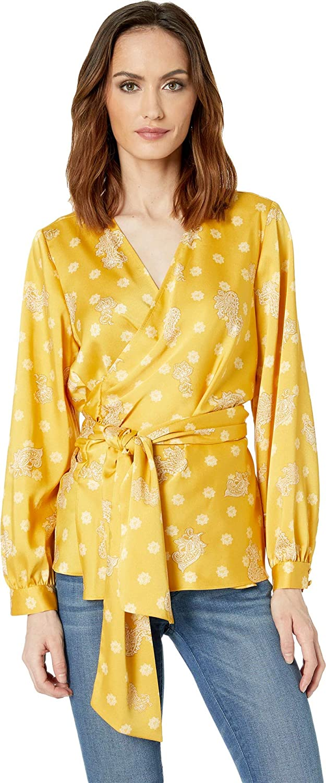 Lemon Tart Vince Camuto Womens Long Sleeve Delicate Paisley Belted Wrap Blouse