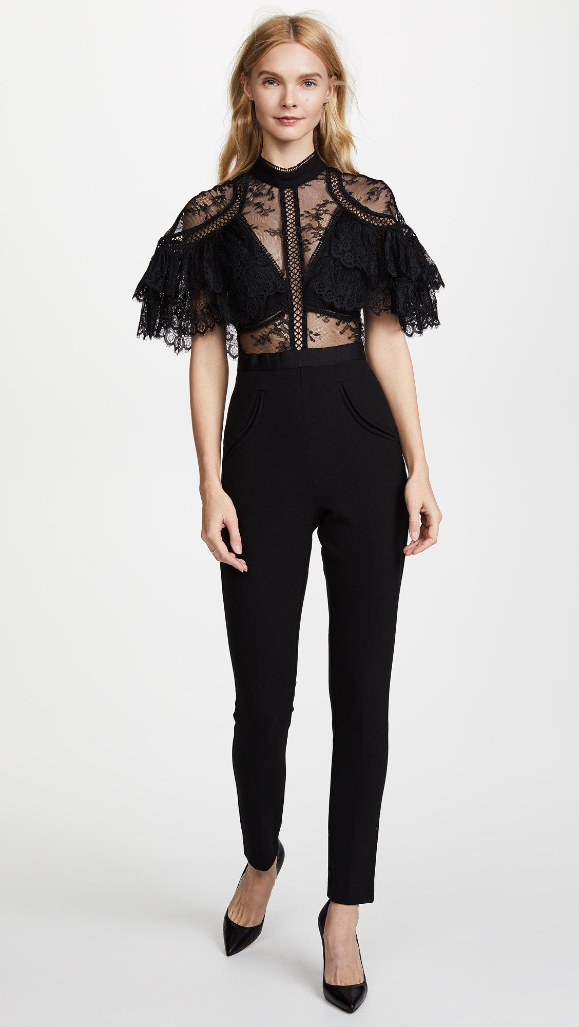 Self Portrait Women's Fine Lace Paneled Jumpsuit, Black, 8 by Self Portrait (Image #2)