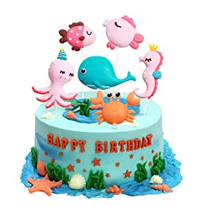 Unimall 6Pcs Sea Theme Cupcake Topper Sets, Marine Animals Cake Topper Figures, Octopus Bule Whale Sea Horse Fish Polymer Clay, Kids Birthday Party Cake Decorations