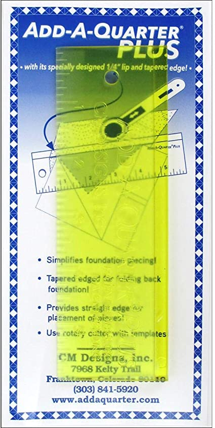 "Add-A-Quarter Ruler with 1//4/"" inch lip adds seams allowance to any angle,6-inch"