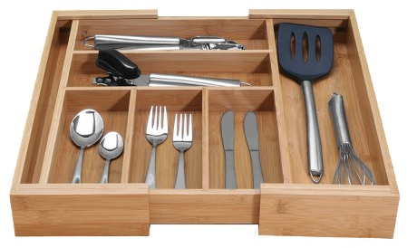 Danesco Bamboo Expandable Cutlery Tray : Target