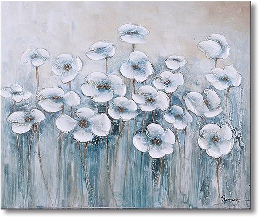 WHITE ROSE WALL ART Picture Floral Canvas Print Love Landscape SET 1