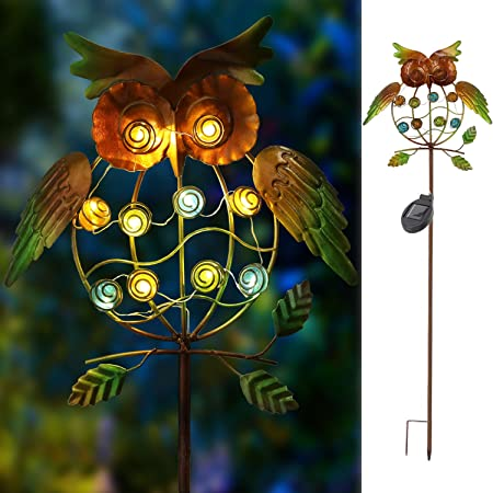 Metal OWL LED Decorative Garden Lights for Walkway,Pathway,Yard,Lawn TAKE ME Garden Solar Lights Outdoor,Solar Powered Stake Lights Green Owl Multicolor