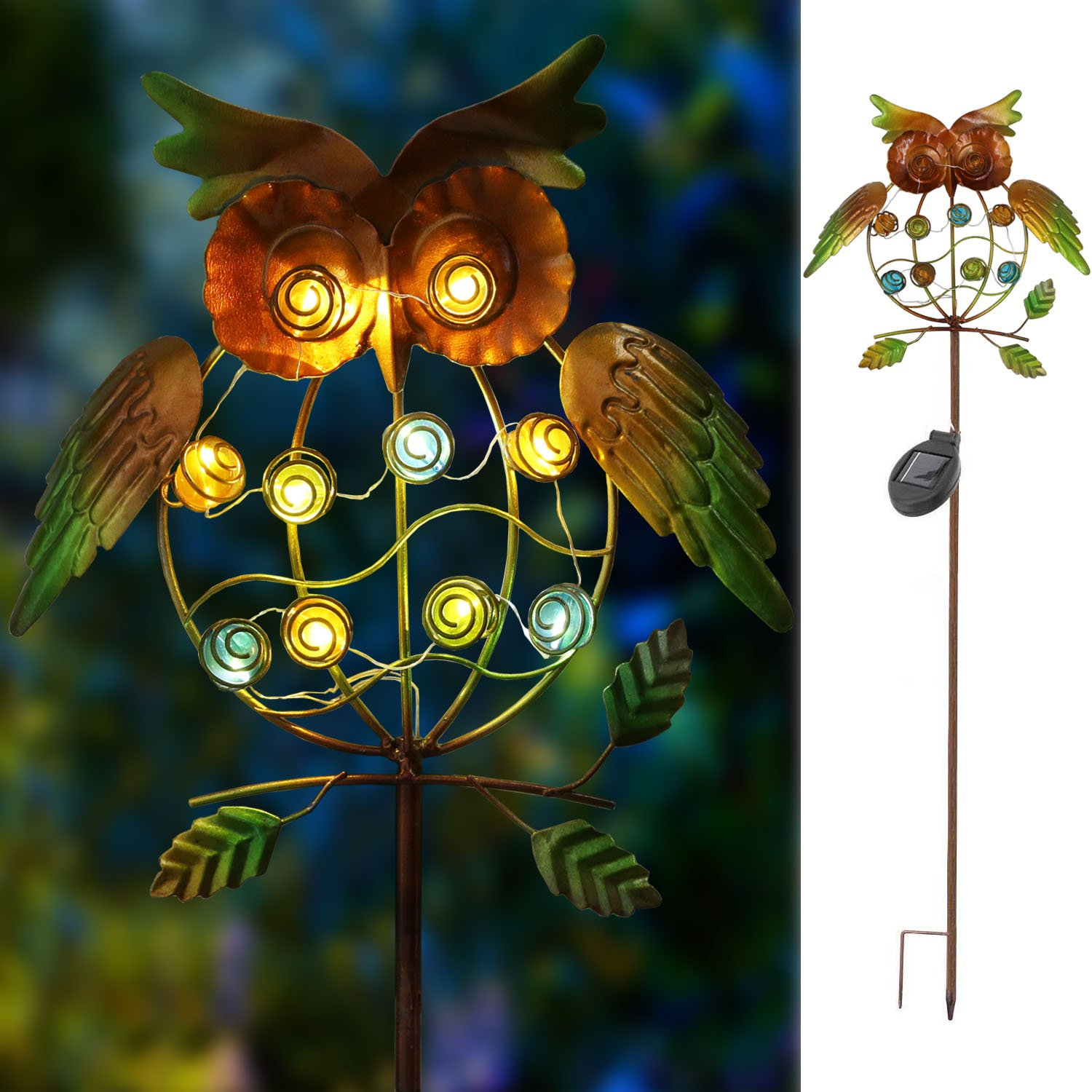 TAKE ME Garden Solar Lights Outdoor,Solar Powered Stake Lights - Metal OWL LED Decorative Garden Lights for Walkway,Pathway,Yard,Lawn (Multicolor) (Green Owl)
