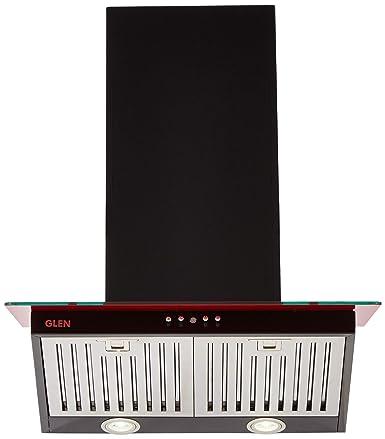 Glen 60cm 1250 m3/hr Chimney (CH6077DXBL60, 3 Baffle Filters, Black)