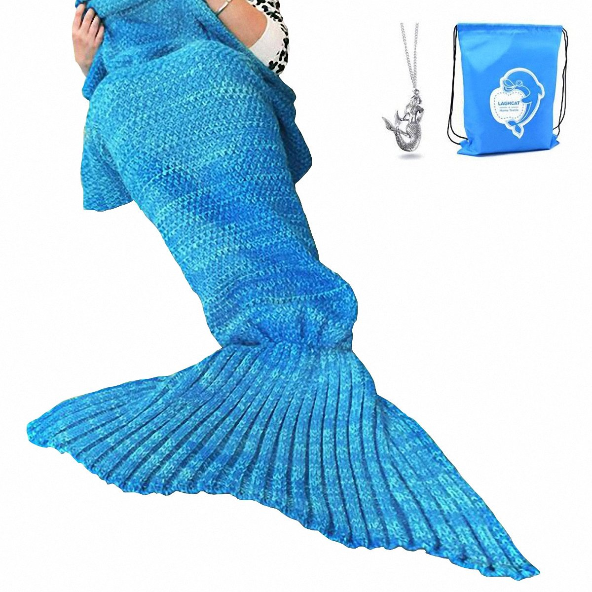 LAGHCAT Mermaid Tail Blanket Crochet Mermaid Blanket for Adult, Soft All Seasons Sleeping Blankets, Classic Pattern (71''x35.5'', Blue) by LAGHCAT