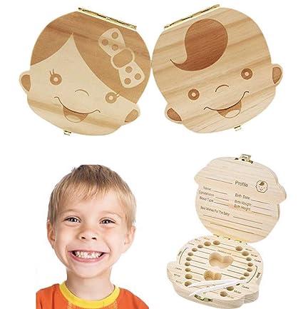 Caja de Dientes Caja de Almacenamiento de Dientes de Leche Caja de Madera para Guardar Dientes Pelo y Memorias de Bebés Caja de Hada de los dientes Ca