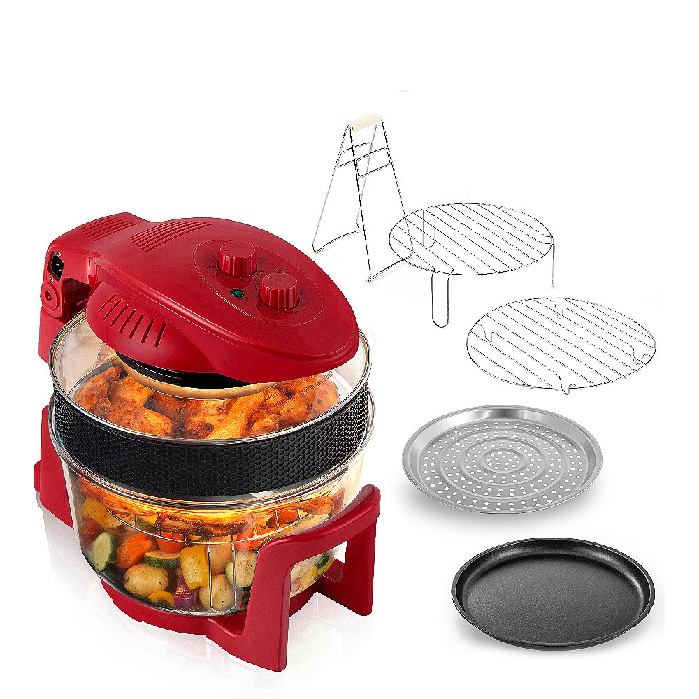 Cookshop 12L Digital Halogen Oven with Hinged Lid Multi Cooker with Convection Oven Cooking, 5L Extender Ring & Accessories, Red