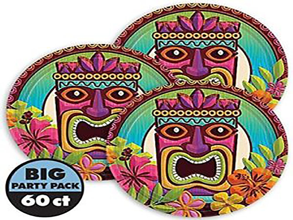 Amscan Sun-Sational Summer Luau Party Tropical Tiki Round Plates Tableware, Paper, 7'', Pack of 60 Supplies (360 Piece)