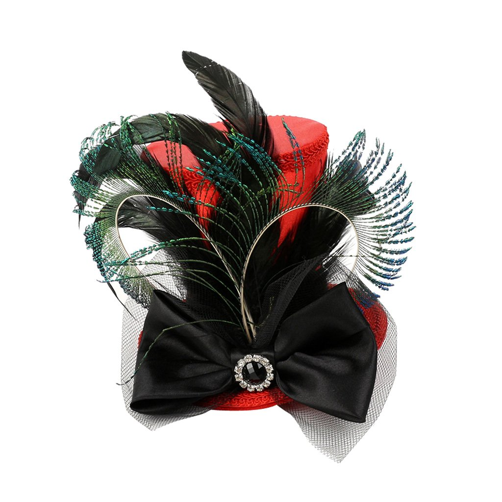 Baoblaze Vintage Women Ladies Black Feather Mini Top Hat Bowknot Hair Clip Fascinator Wedding Engagement Church Party Headwear