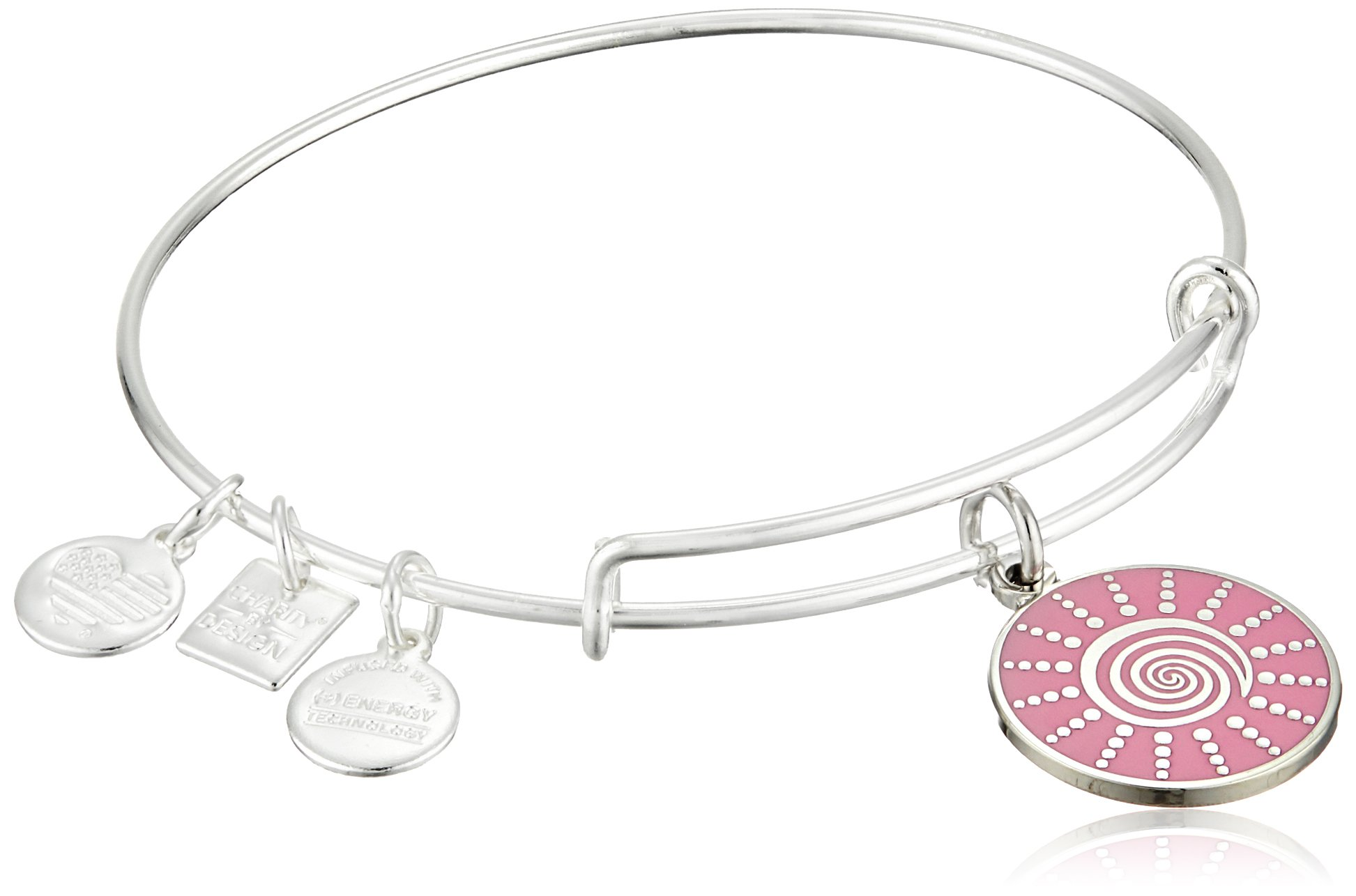 Alex and Ani Women's Charity by Design - Spiral Sun Expandable Charm Bangle Bracelet Shiny Silver Bangle Bracelet One Size