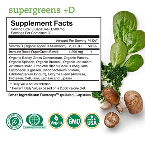 Amazon.com: SuperGreens + D – & Vegano Orgánico Vitamina D ...