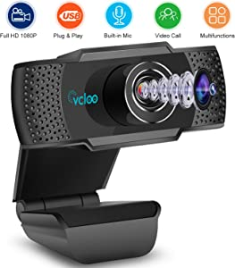 HD Webcam 1080P with Mic PC Laptop Desktop USB Webcams, Pro Streaming Computer Camera for Conference/Online Teaching/Business Meeting Compatible with Computer MacBook for Windows Android iOS