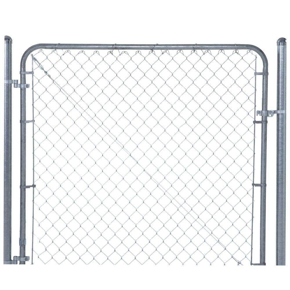 YARDGARD 6 ft. x 4 ft. Galvanized Metal Adjustable Single Walk-Through Chain Link Fence Gate
