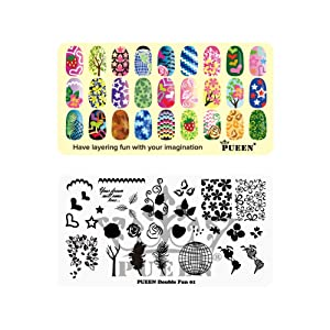 PUEEN Nail Art Stamping Plate -Double Fun 01 - Layering Collection 125x65mm Unique Nailart Polish Stamping Manicure Image Plates Accessories Kit - BH000724
