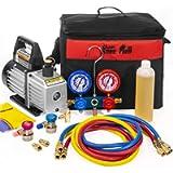 XtremepowerUS 3CFM 1/4HP Air Vacuum Pump HVAC R134a R12 R22 R410a A/C Refrigeration Kit AC Manifold Gauge R134 Can Tap…