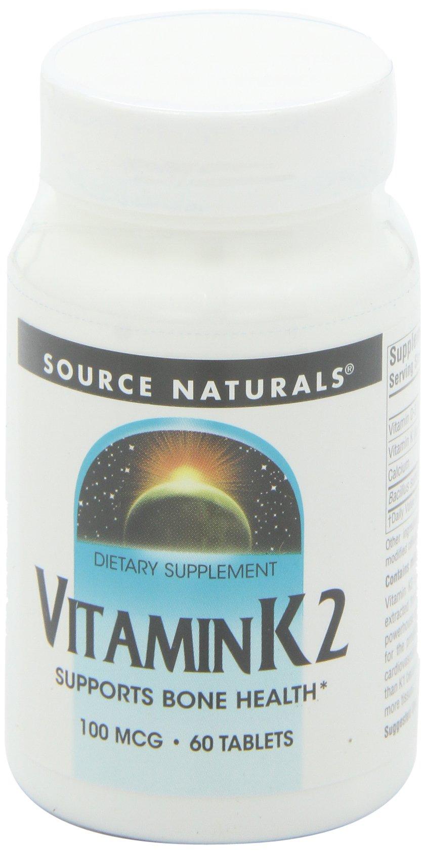 Source Naturals Vitamin K2 100mcg, 60 Tablets (Pack of 2)