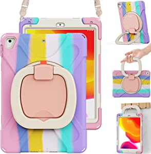 BRAECN iPad Case 6th/5th Generation, iPad 9.7 2018/2017 Case for Kids-Heavy Duty Silicone Case with Stable Kickstand, Multi-Functional Grip, Carrying Strap, Pencil Holder for iPad 9.7''-Colorful Pink