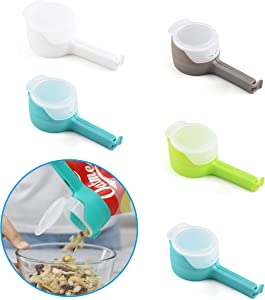 5 Packs Plastic Pour Food Bag Sealing Clip, Keep Fresh Snack Storage Pouring Clamp, Kitchen Reusable Nozzle Clips with Cap, Moistureproof Seal Spout Tool for Nuts/Crisps/Grains