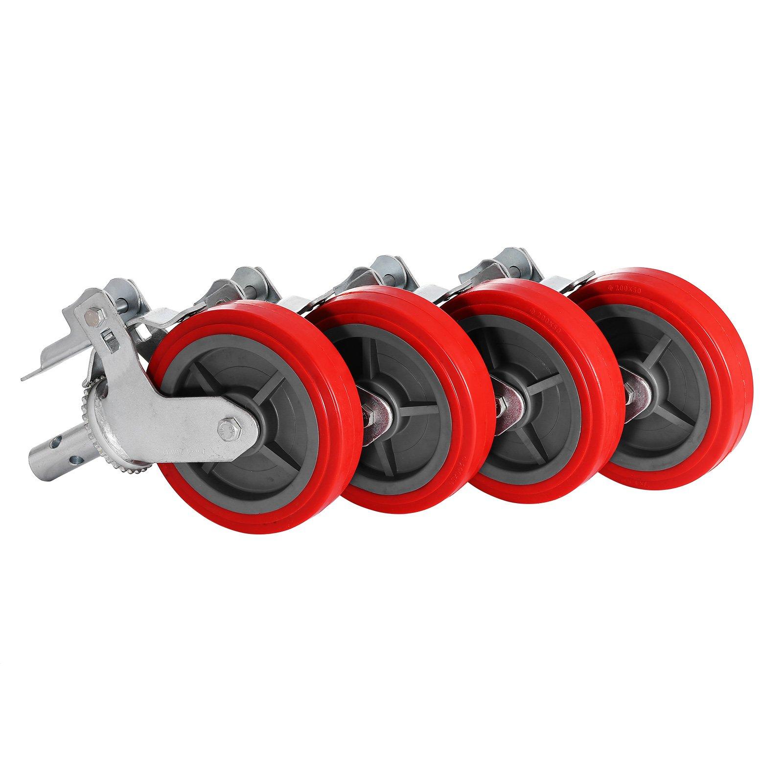 Geindus Set Of 4 Scaffolding Casters Polyurethane 600LBS Scaffolding Wheels Scaffold Caster Wheel On Iron With Brake Lock