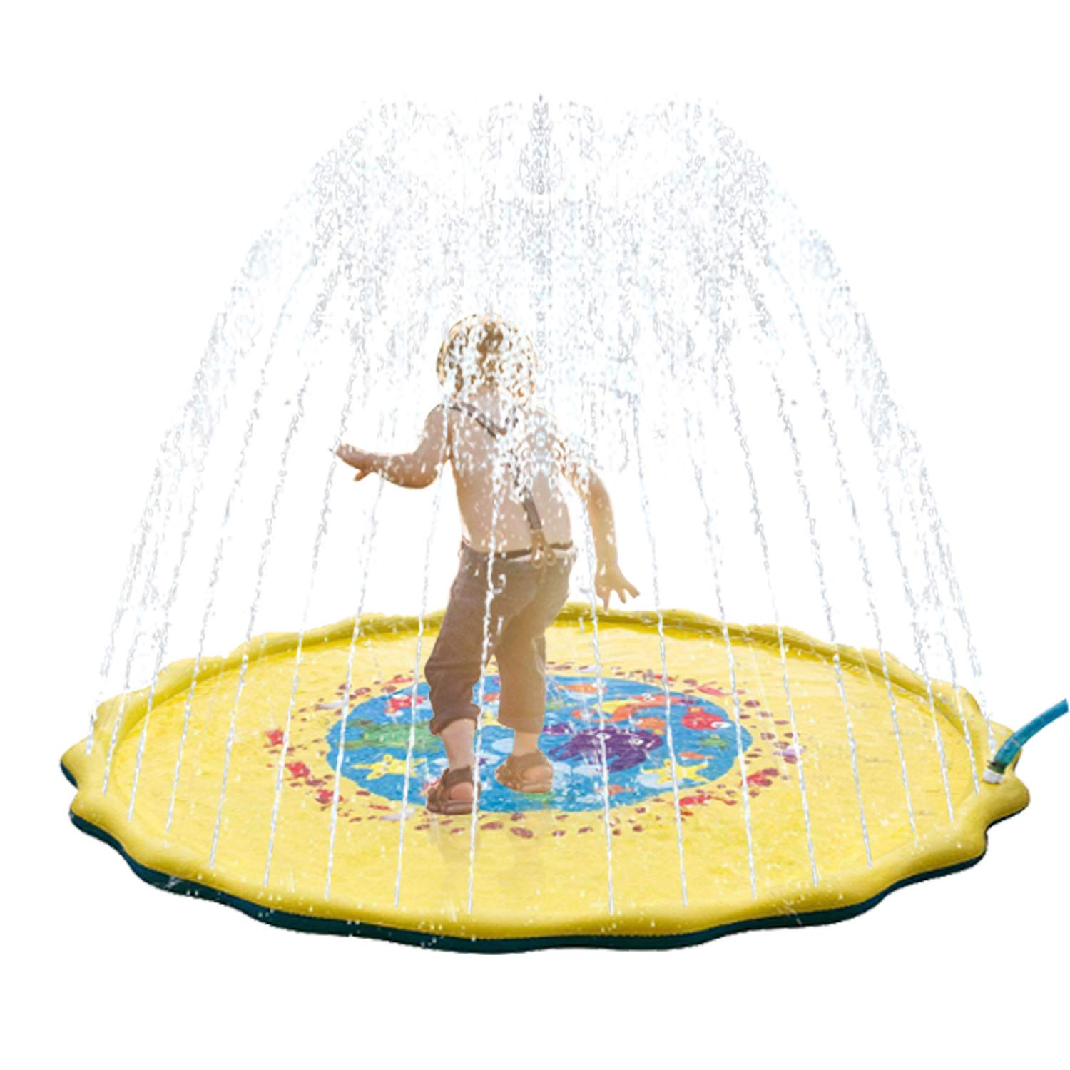 Issten Sprinkle and Splash Play Mat Toy for Kids,68'' Outdoor Inflatable Sprinkler Pad Water Toys Summer Swimming Party Beach Pool Water Play Toys for Children Toddler Babie Family Pet