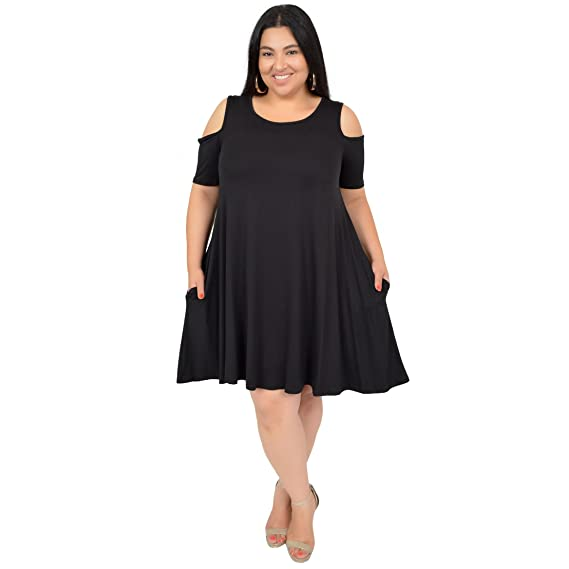 f5a746662d4 Stretch is Comfort Women s Plus Size Maggie Open Shoulder Short Sleeve Tank  Dress Black X-